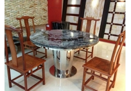 Round Dining Table with Stone